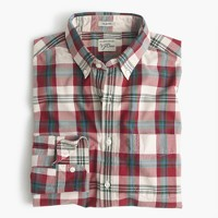 Slim Secret Wash shirt in red-and-white plaid