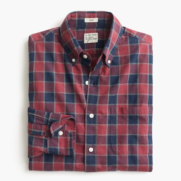 Secret Wash shirt in heather poplin faded plaid