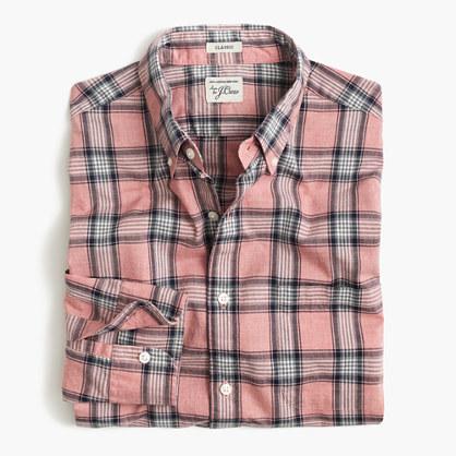 Secret Wash shirt in pale red heather poplin plaid