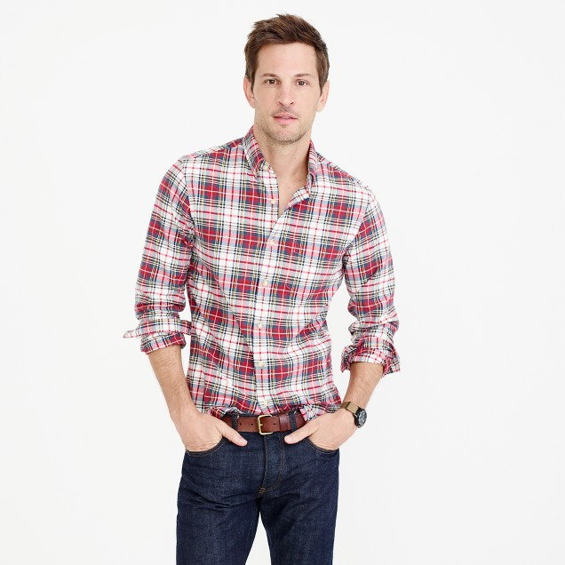 Tall oxford shirt in Stewart tartan