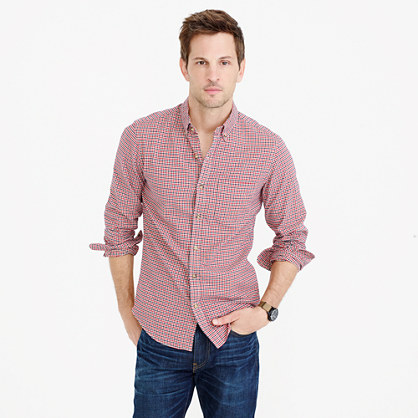 Slim oxford shirt in navy and red check