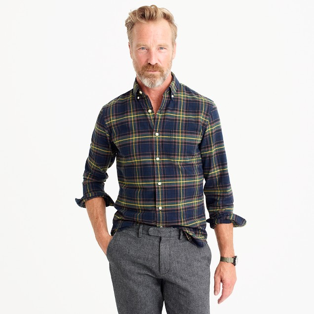 Tall oxford shirt in navy ink plaid