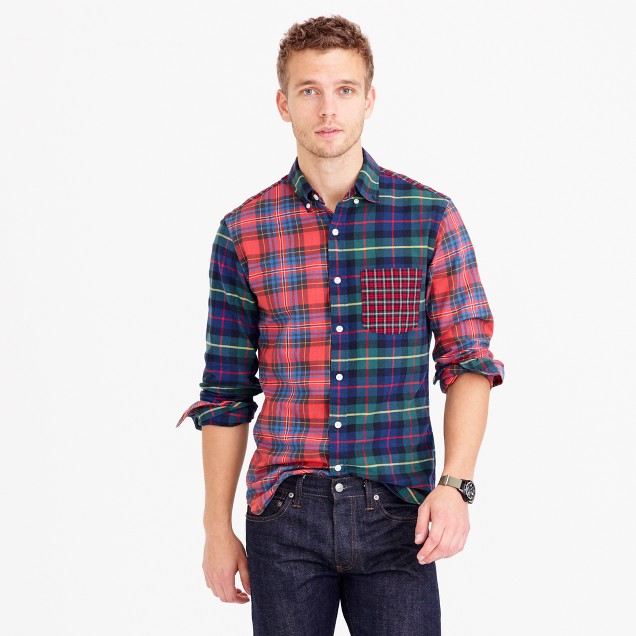 Slim oxford cocktail shirt in plaid