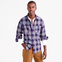Midweight flannel shirt in classic navy plaid