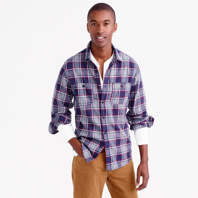 Tall midweight flannel shirt in classic navy plaid