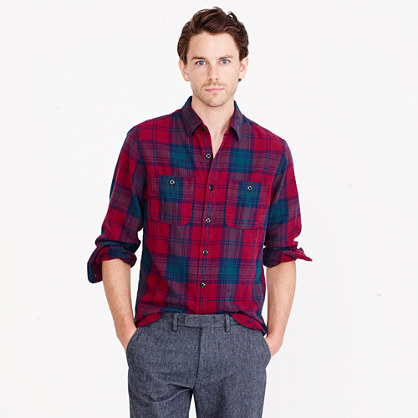 Midweight flannel shirt in cabernet plaid