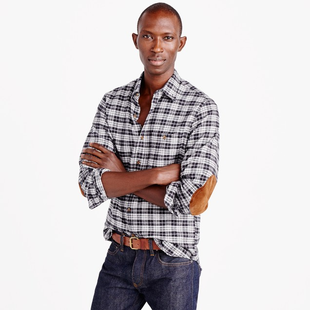 Cotton-wool elbow-patch shirt in heather grey plaid