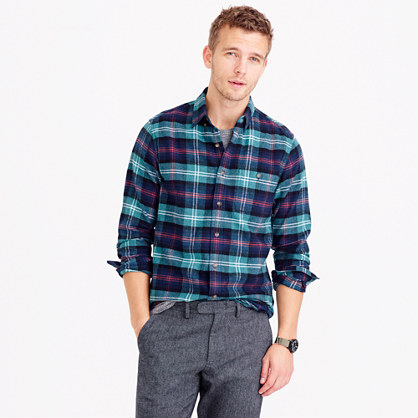 Cotton-wool elbow-patch shirt in heather pine tartan