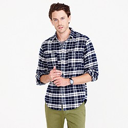 Wallace & Barnes heavyweight flannel shirt in blue plaid