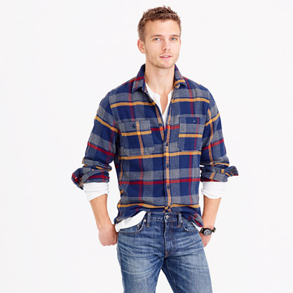 Wallace & Barnes heavyweight flannel shirt in multicolor plaid