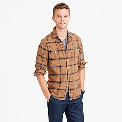 Wallace & Barnes heavyweight flannel shirt in wheat windowpane