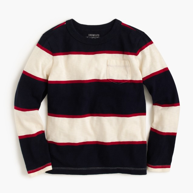 Boys' long-sleeve rugby-stripe pocket T-shirt