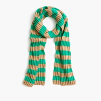 Ribbed striped cashmere scarf