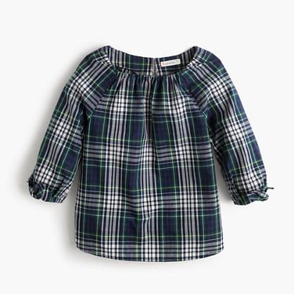 Girls' tie-sleeve top in plaid