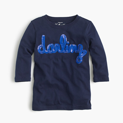"Girls' sequin ""darling"" T-shirt"