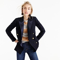 Double-breasted blazer in Italian wool with satin lapel