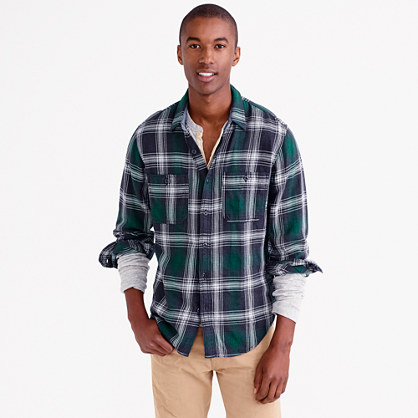 Wallace & Barnes heavyweight flannel shirt in green check