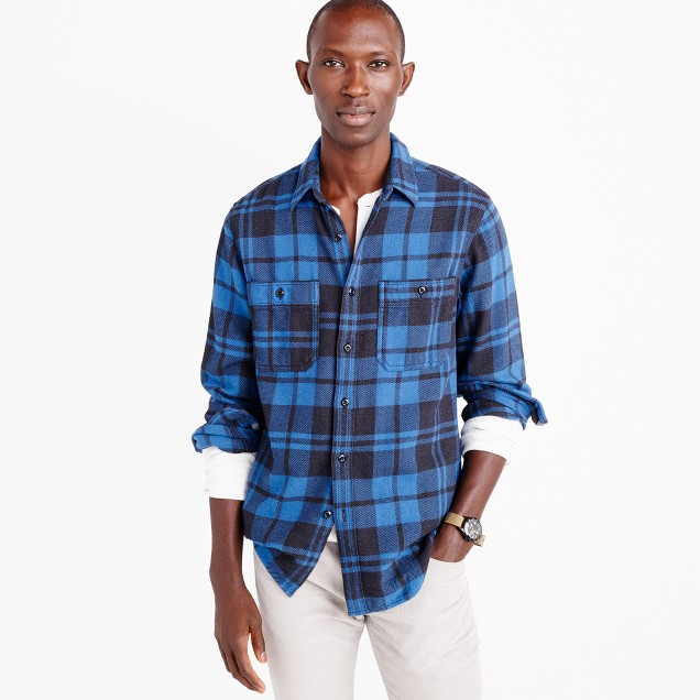 Wallace & Barnes heavyweight flannel shirt in blue check