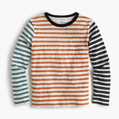 Boys' long-sleeve mash-up striped T-shirt