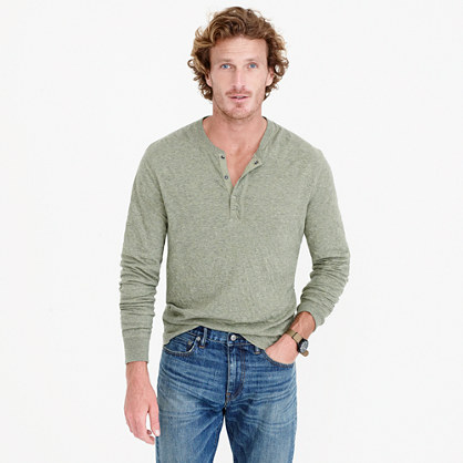 Tall double-knit henley