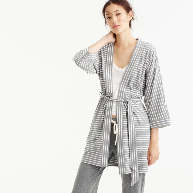 Knit cotton robe in stripe
