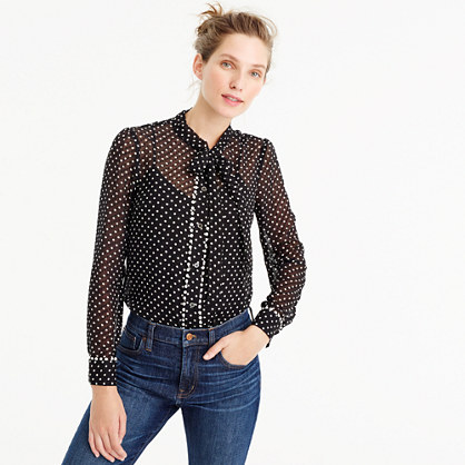 Textured tie-neck top in polka dot