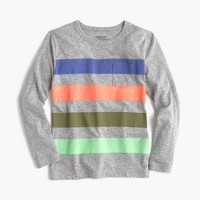 Boys' long-sleeve striped pocket T-shirt