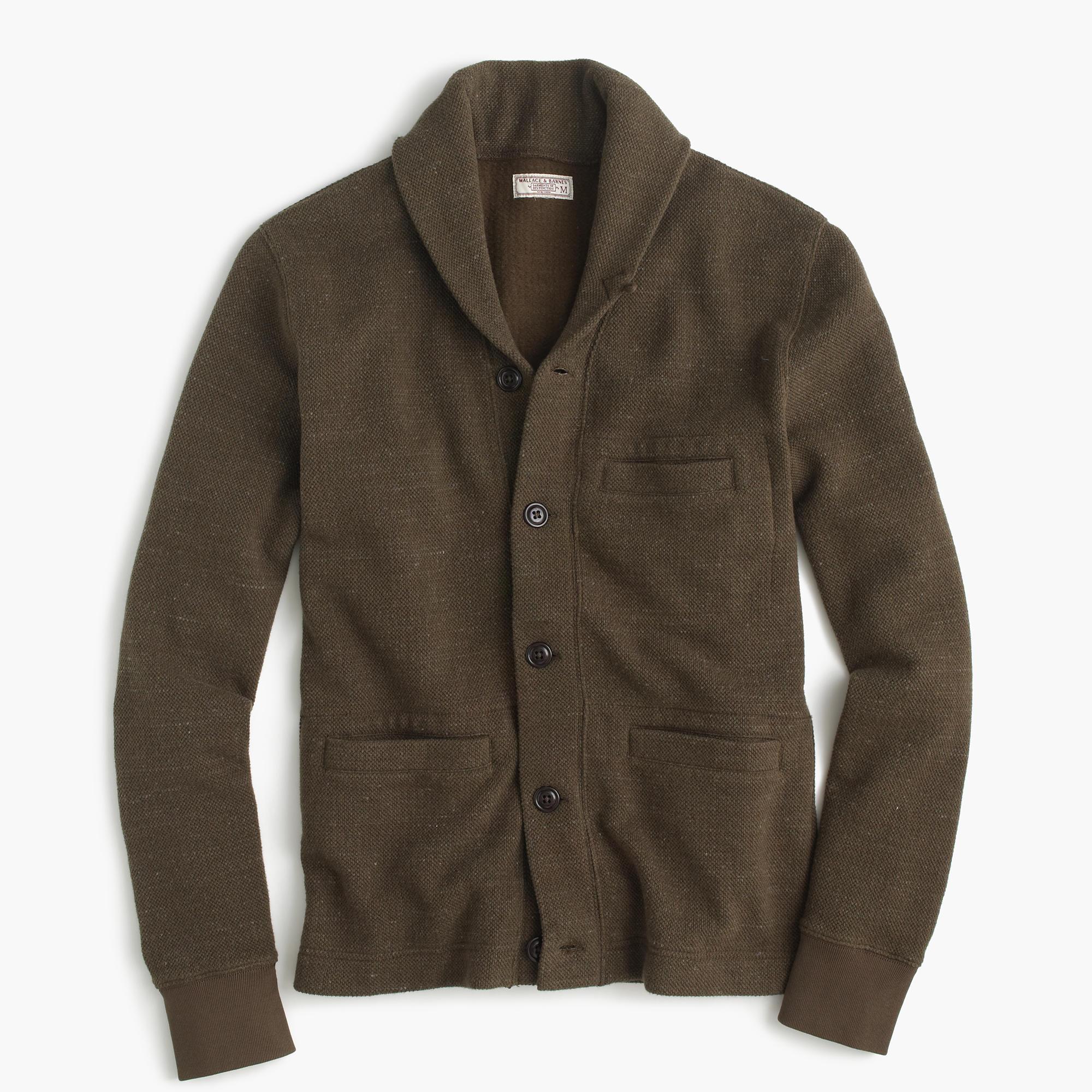 Wallace & Barnes Cotton Shawl-Collar Cardigan In Bird's