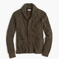 Wallace & Barnes cotton shawl-collar cardigan in bird's-eye stitch