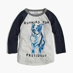 "Pre-order Boys' three-quarter-sleeve Frenchie ""running for president"" T-shirt"