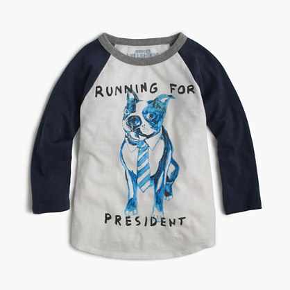 "Boys' three-quarter-sleeve Frenchie ""running for president"" T-shirt"