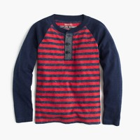 Boys' long-sleeve striped henley T-shirt