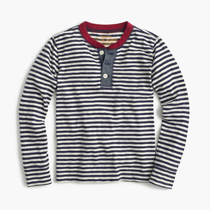 Boys' long-sleeve striped ringer henley T-shirt