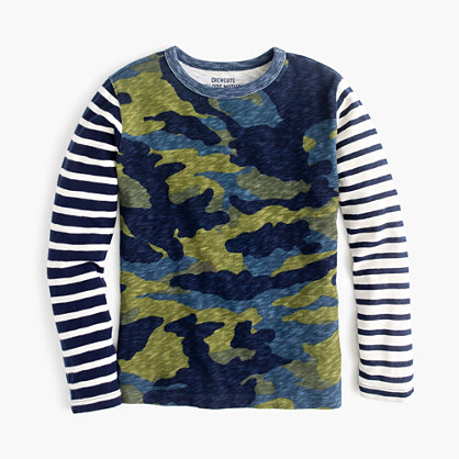 Boys' long-sleeve camo mash-up T-shirt