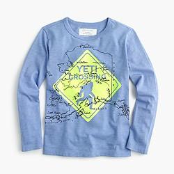 "Boys' long-sleeve ""Yeti crossing"" glow-in-the-dark T-shirt"
