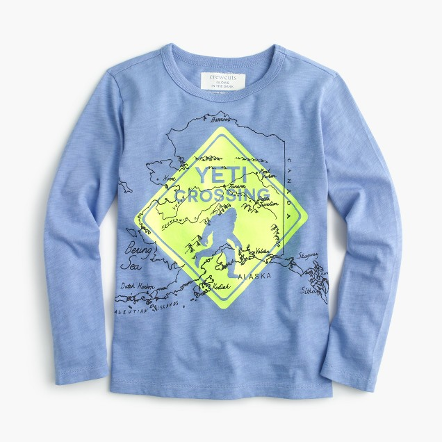 "Boys' long-sleeve ""Yeti crossing"" glow-in-the-dark T-shirt"