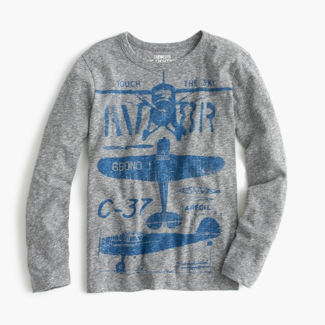 Boys' long-sleeve airplane T-shirt in the softest jersey