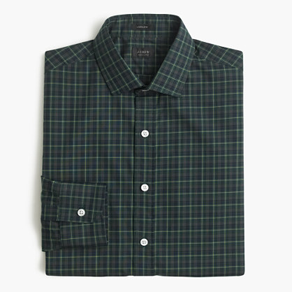 Ludlow shirt in dark navy plaid