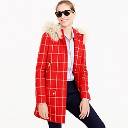 Petite chateau parka in windowpane check