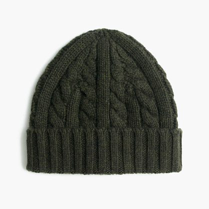 Cashmere cable-knit beanie hat