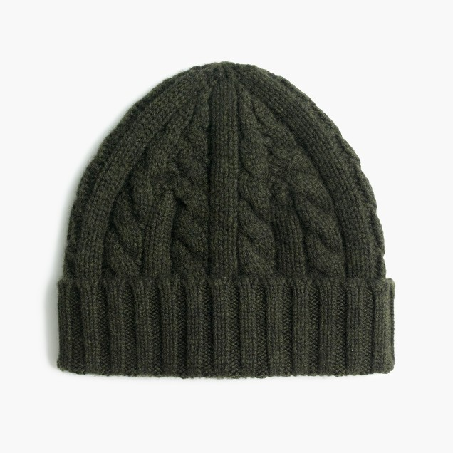 Cashmere cable-knit beanie hat