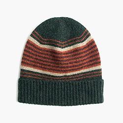 Lambswool beanie hat in blanket stripe