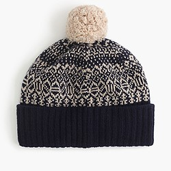 Lambswool beanie hat in jacquard