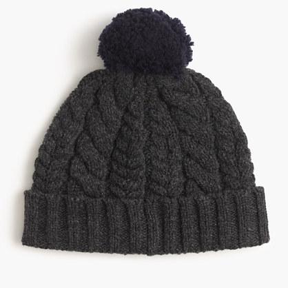 Heathered lambswool beanie hat