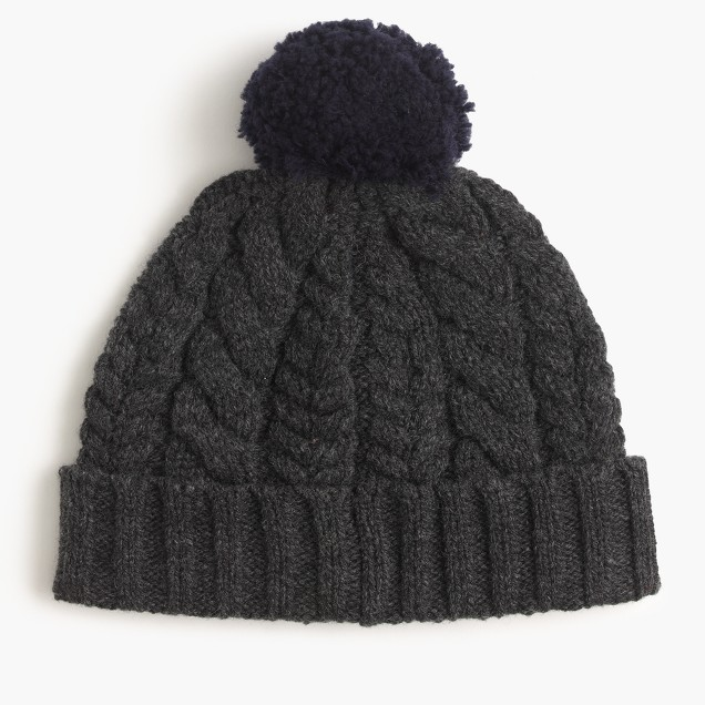 Heathered lambswool beanie hat