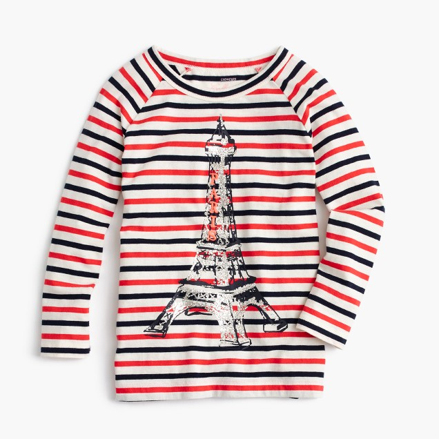 Girls' glitter Eiffel Tower striped T-shirt