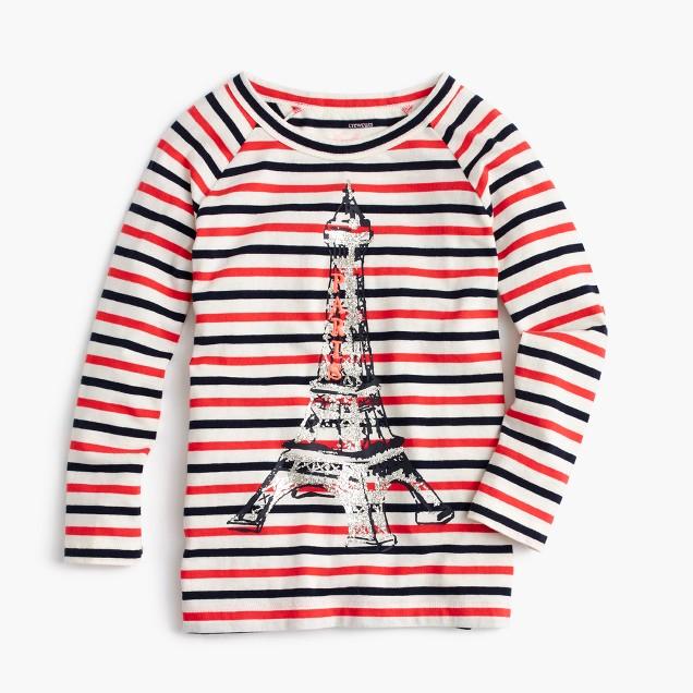 Girls' glitter Eiffel Tower striped T-shirt