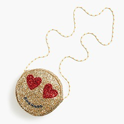 Girls' glitter emoji bag