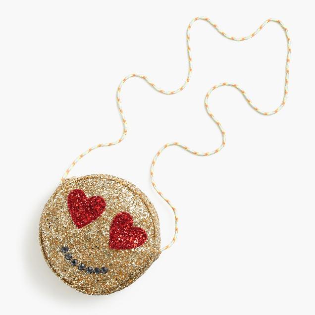 Girls' glitter emoji bag