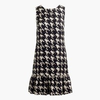 Flounce silk dress in wolfstooth